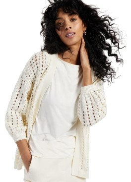 Alfani Puff-Sleeve Pointelle-Knit Open-Front Cardigan Sweater, Created for Macy's