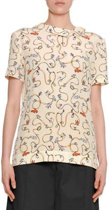 Marni Ribbon & Charm Short-Sleeve Asymmetric-Collar Silk Blouse