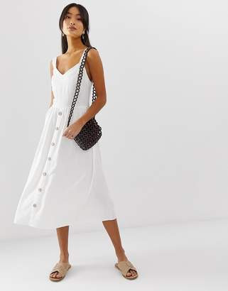 New Look midi dress with button front in white