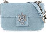 Alexander McQueen Insignia Suede Chain Satchel Bag, Blue