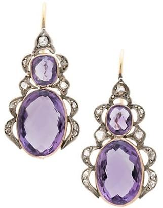 Stephanie Windsor Victorian Platinum, 15K Yellow Gold, Amethyst & Diamond Drop Earrings