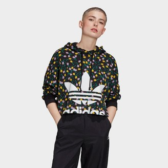adidas Women's Allover Print Large Logo Cropped Hoodie
