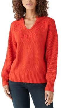 Lucky Brand Embroidered Notch-Neck Sweater