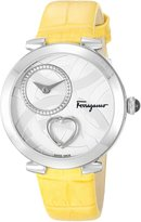 Salvatore Ferragamo Women's 'Beating Heart' Swiss Quartz Stainless Steel and Leather Casual Watch, Color:Yellow (Model: FE2010016)