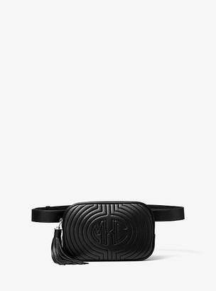 Michael Kors Monogramme Quilted Leather Belt Bag - Black