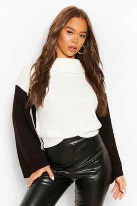 boohoo Colour Block Contrast Flare Sleeve Sweater