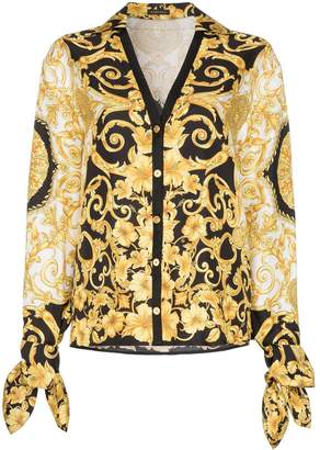 Versace V-neck Baroque-print blouse
