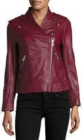 Zadig & Voltaire Leather Asymmetric Zip Jacket, Prune