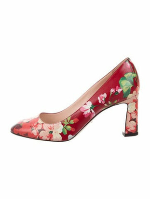 Gucci Blooms Print Leather Pumps Red