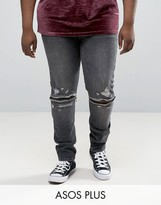 Asos Plus Super Skinny Jeans With Knee Zip Rips In Washed Black
