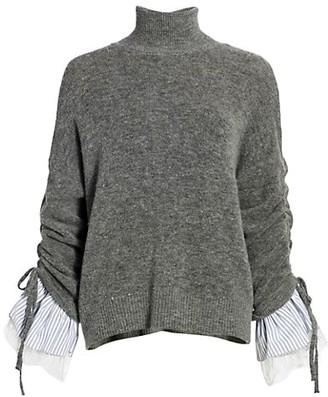 Cinq à Sept Atlas Bell-Sleeve Turtleneck Sweater