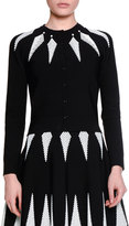 Alexander McQueen Feather Jacquard Cardigan, Black/White