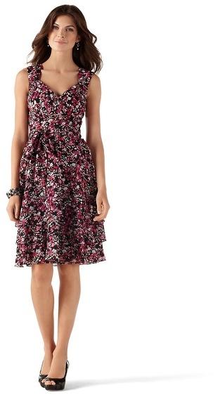 White House Black Market Flounced Chiffon Cutout-Back Dress