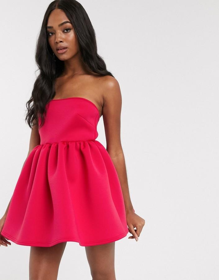 True Violet super mini prom dress with built in bodysuit in fuchsia
