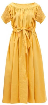 Thierry Colson Vera Drawstring-waist Smocked Cotton Midi Dress - Orange