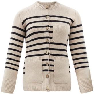 KHAITE Suzette Striped Cashmere-blend Cardigan - Black Multi
