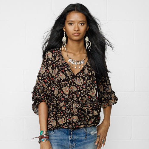 Denim & Supply Ralph Lauren Floral Cotton-Blend Boho Top