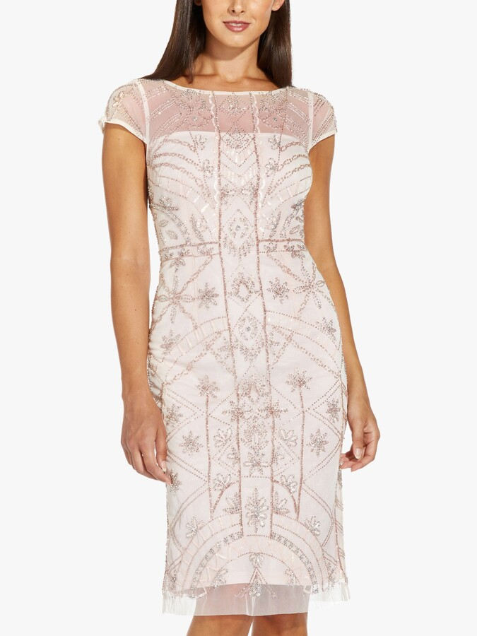 Adrianna Papell Beaded Sheath Floral Knee Length Gown, Flaxen