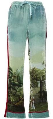 F.R.S For Restless Sleepers Ettore Printed Velvet Straight-leg Pants