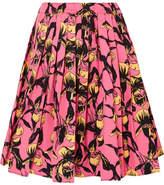 Prada Pleated Floral-print Cotton-canvas Skirt - Pink