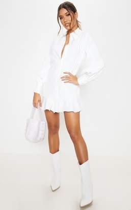 PrettyLittleThing White Frill Hem Shirt Dress