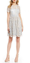 Eliza J Illusion Lace Fit & Flare Dress