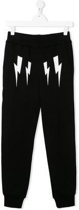 Neil Barrett Kids TEEN lightning bolt track pants