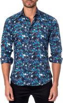 Jared Lang Floral-Print Sport Shirt, Blue