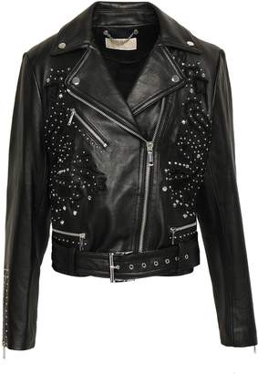 MICHAEL Michael Kors Suede-trimmed Studded Leather Biker Jacket