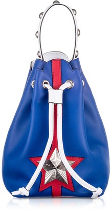 Les Jeunes Etoiles Blue and Red Leather Vega Bucket Bag