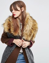 Asos Oversized Knit Scarf & Faux Fur Mix