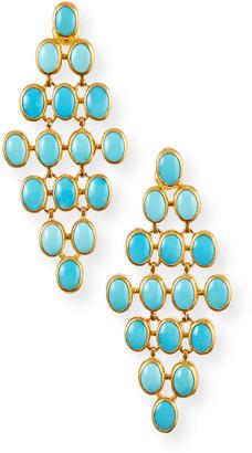 Gurhan 24k Turquoise Trellis Earrings, 7x5mm