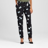 Mossimo Women's Floral Print Drawstring Pants Black