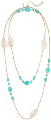 New York & Co. Leaf-Accent Beaded Necklace