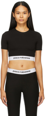 Paco Rabanne Black Cropped Active Logo Sport Top