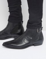 Asos Chelsea Boots In Black Leather With Buckle Detail