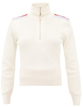 Cordova Are Shoulder-stripe Quarter-zip Wool Sweater - Cream