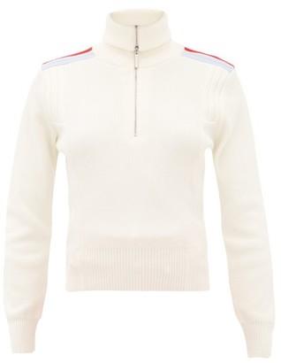 Cordova Are Shoulder-stripe Quarter-zip Wool Sweater - Womens - Cream