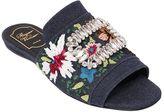 Roger Vivier 10mm Guipure Denim Slide Sandals
