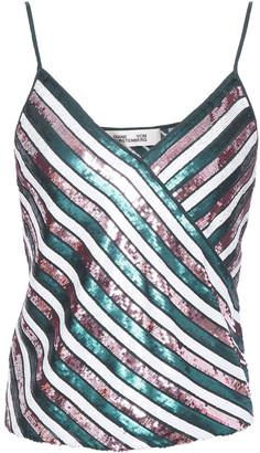 Diane von Furstenberg Sequin-embellished Striped Silk-chiffon Camisole