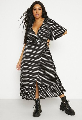 Missguided Plus Size Black Polka Dot Wrap Ruffle Hem Midi Dress