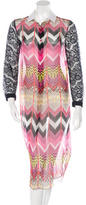 Carven Lace-Accented Silk Dress