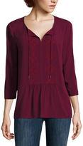 Liz Claiborne 3/4 Sleeve Scoop Neck Woven Blouse-Talls