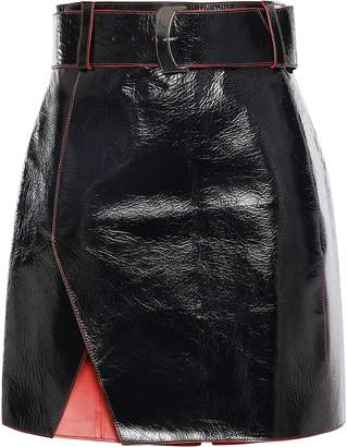 Thierry Mugler Wrap-effect Crinkled Patent-leather Mini Skirt