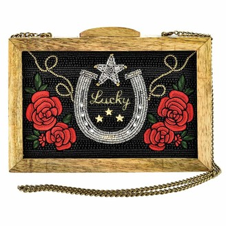 Mary Frances Lucky Star Beaded Wood Frame Crossbody Handbag Purse