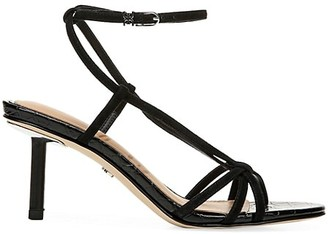 Sam Edelman Pippa Ankle-Wrap Croc-Embossed Leather Sandals