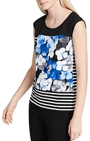 Calvin Klein Sleeveless Floral-and-Stripe Print Top
