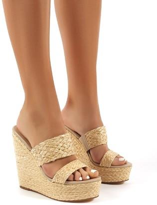 Public Desire Uk Lucia Raffia Wedge Heeled Sandals