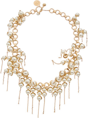 Christian Dior Pearl Detail Brass Necklace