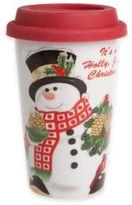 Fitz & Floyd Holly Berry Snowman Travel Mug